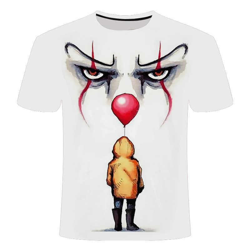 Film Horror Si Penny Wise Pagliaccio Burlone 3D Stampa della Maglietta Degli Uomini/Donne Hip Hop Streetwear Tee T shirt 90s Ragazzi Vestiti Cool Uomo Magliette E Camicette