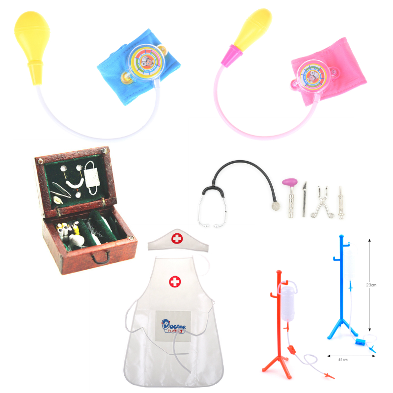 Baby Blood Pressure Toy Cosplay Doctor Dentist Medicine Box Stethoscope Hanging Bottle Pretend Speelgoed Kids Pretend Play Toy