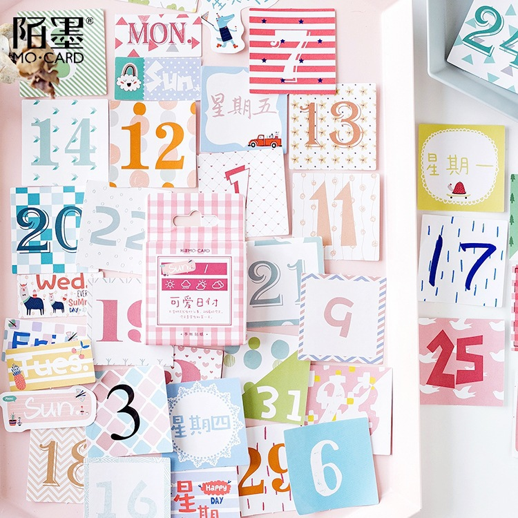 45 Pieces/Box Lovely Number Sticker Set For Girl Basic Decorate Bullet Journal Date Calendar  Adhesive Cute Students Stationery