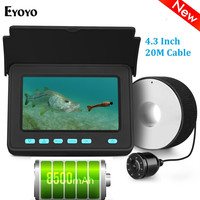 Eyoyo EFPRO 20M Underwater Camera for Fishing 4.3 LCD Monitor Fish Finder 8pcs LEDs Angle 110 degrees Lithium Battery 10000mAh