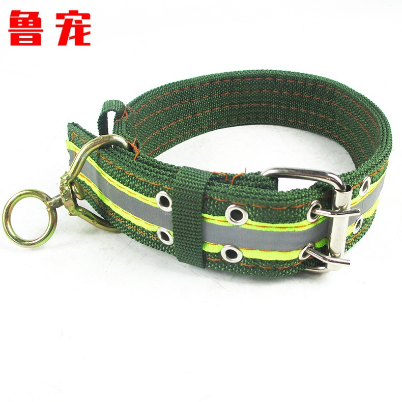 Army Green 4cm Dog Collar Diplopore Design Character Swivel Multilayer Thick Reflective Large Dog Collar