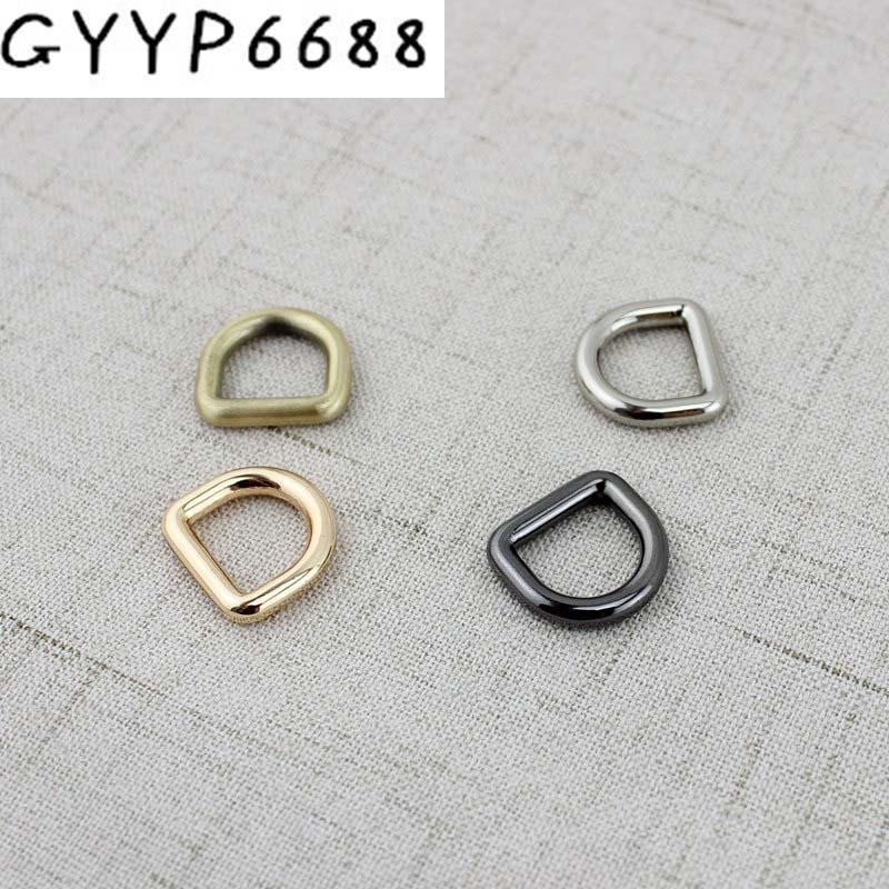100PCS 6 Colors Line 3.0mm 10mm Inside Brushed Antique Brass D Ring Hardware Metal  Gold Round D-ring For Bag