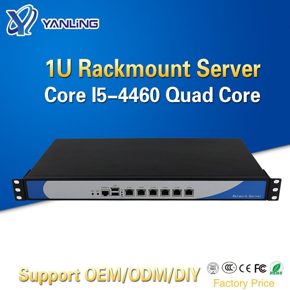 Yanling 1U Rack Firewall Cloud Computer Netzwerk Server Intel i5 4460 Quad Core 6 Lan Aluminium Fall Pfsense Router Unterstützung 2 * SFP