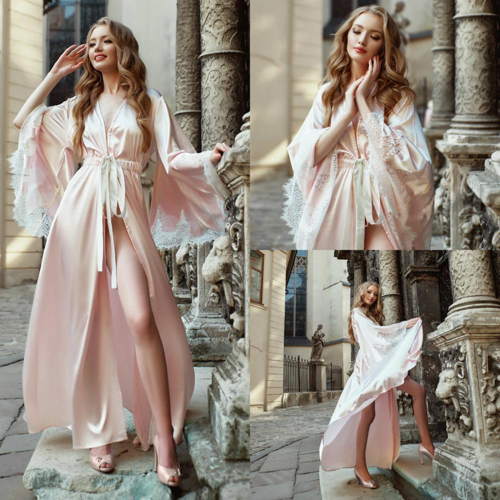 Light Pink Night Robe With Belt Loose Long Sleeves Lace Women Bathrobe Top Quality Party Sleepwear Sexy Bridal Nightgown Robes