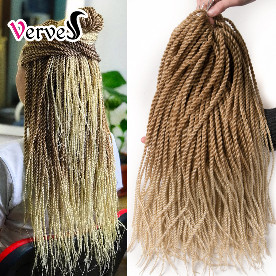 VERVES Ombre Crochet Braids 30 Strands/pack 18'',small Senegalese Twist Hair Synthetic Braiding Hair Extensions Black Blonde