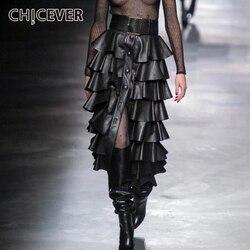 CHICEVER Nero di Cuoio DELL'UNITÀ di elaborazione delle Donne Volant Gonne A Vita Alta Bottoni Streetwear Femminile del Pannello Esterno 2020 di Modo di Autunno Nuovi Vestiti