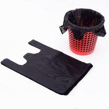 100 pçs engrossado preto saco de plástico colete saco de armazenamento takeaway compras embalagem de lixo com alça cozinha sala estar limpo