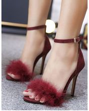 2019 Fur Sandals Women Stiletto Shoes Sexy Burgundy High Heels Cover Heel Ankle Buckle Cut Out One Strap Solid