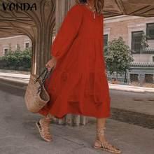 Party Dress Women's Long Sleeve Sundress Bohemian Maxi Long Dresses 2021 VONDA Loose Cotton Long Robe Bohemian Vestidos S-5XL