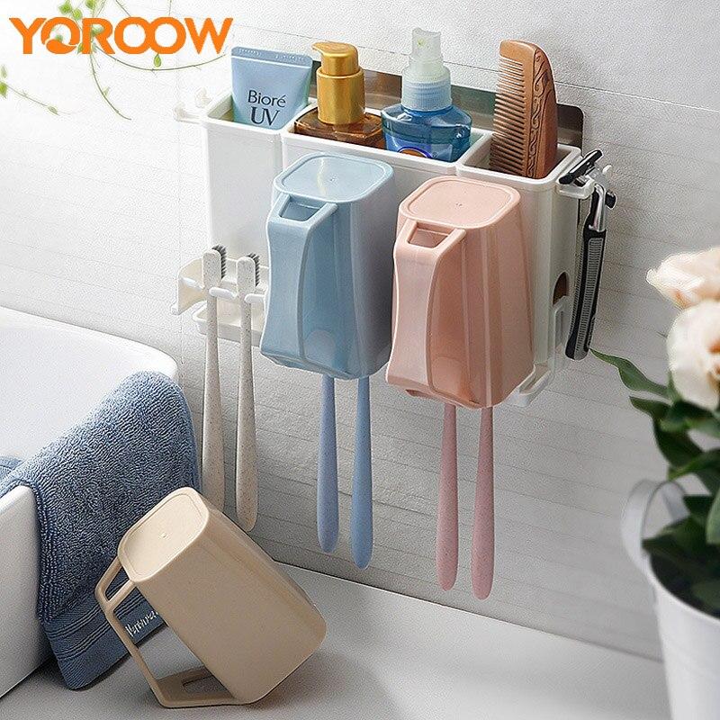 Porte-brosse à dents mural support de verre autoportant Clip porte-brosse tasse salle de bains douche panier ventouse AYP0020