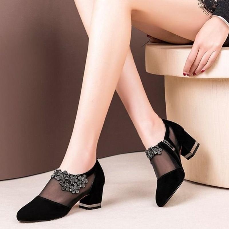 Women Crystal Lace Zip Mesh Pumps Woman High Heels Spring Female Shoes Classics Solid Platform Sandals Ladies Party Shoes 2020