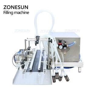 Image 5 - ZONESUN 4 חרירים מגנטי משאבת אוטומטי שולחן העבודה נוזל מים לשתות מילוי מסוע מכונת מילוי בקבוק מים ביצוע מכונת