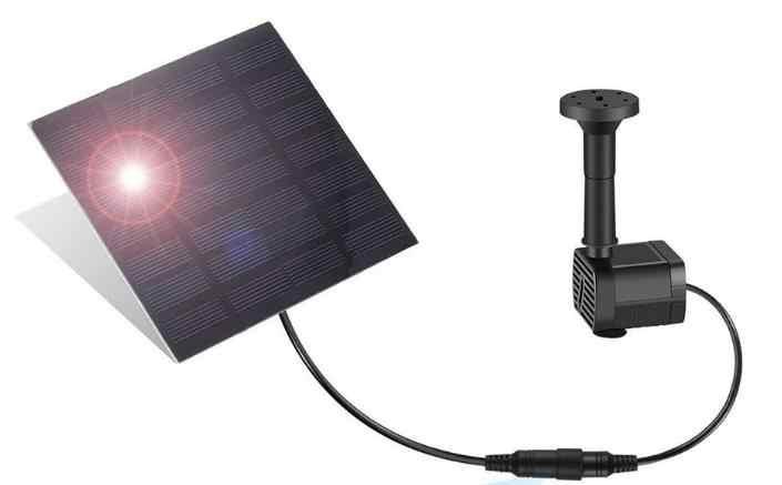 180L/H Panel Tenaga Surya/Solar Panel Pompa Air Kolam Renang Taman Kolam Air Mancur Akuarium Hitam Masa Hidup Panjang 20000 Jam Tegangan 7V 30-60Cm