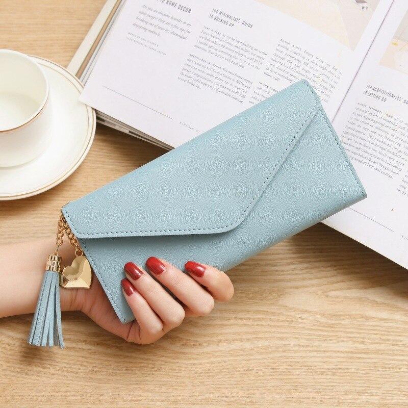 Модные женские кошельки, простые кошельки на молнии, черные, белые, серые, красные, длинный секционный клатч, кошелек из искусственной кожи, сумка для денег - Цвет: SkyBlue