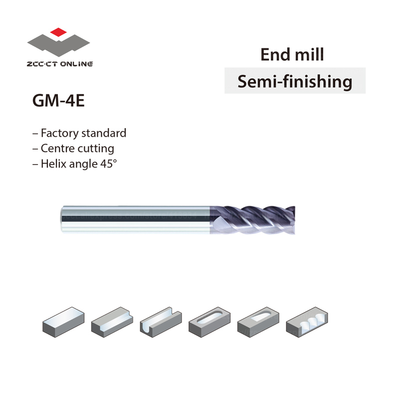 Zcc Milling Cutter GM-4E-D4.0S Machine Tools Accessories 4 Flute End Mill Carbide 4mm D4*4d*11H*50L 50HRC Cutting  Blade