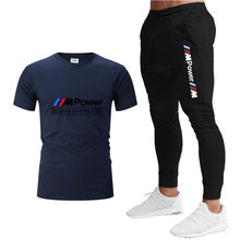 2021 Fashion Casual Sportswear Summer Letter Printing Men'sSports Suit Fitness Clothes Men's T-shirt + Sports Trousers 2-Piec