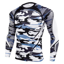 2020 NewLong sleeve Compression Skinny T-shirt Men Running Sport Quick dry Shirt  Male Gym Fitness Workout Tee Tops MMA Clothing