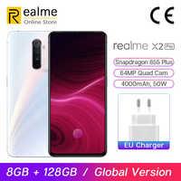 In Magazzino Globale Versione Realme X2 Pro Snapdragon 855 Più Del Telefono Mobile 8GB 128GB 6.5 ''64MP Quad cam 90Hz Display NFC 50W VOOC