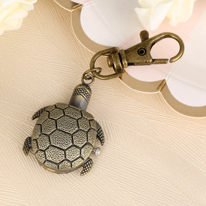 Little Cute Small Size Tortoise Shape Keychain Quartz Pocket Watch Fob Retro Bronze Key Chains Top Gifts For Boys Girls Children