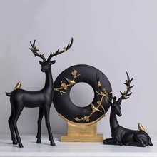 Creative deer put a plum blossom antler black station lie porch study TV cabinet bedroom decoration
