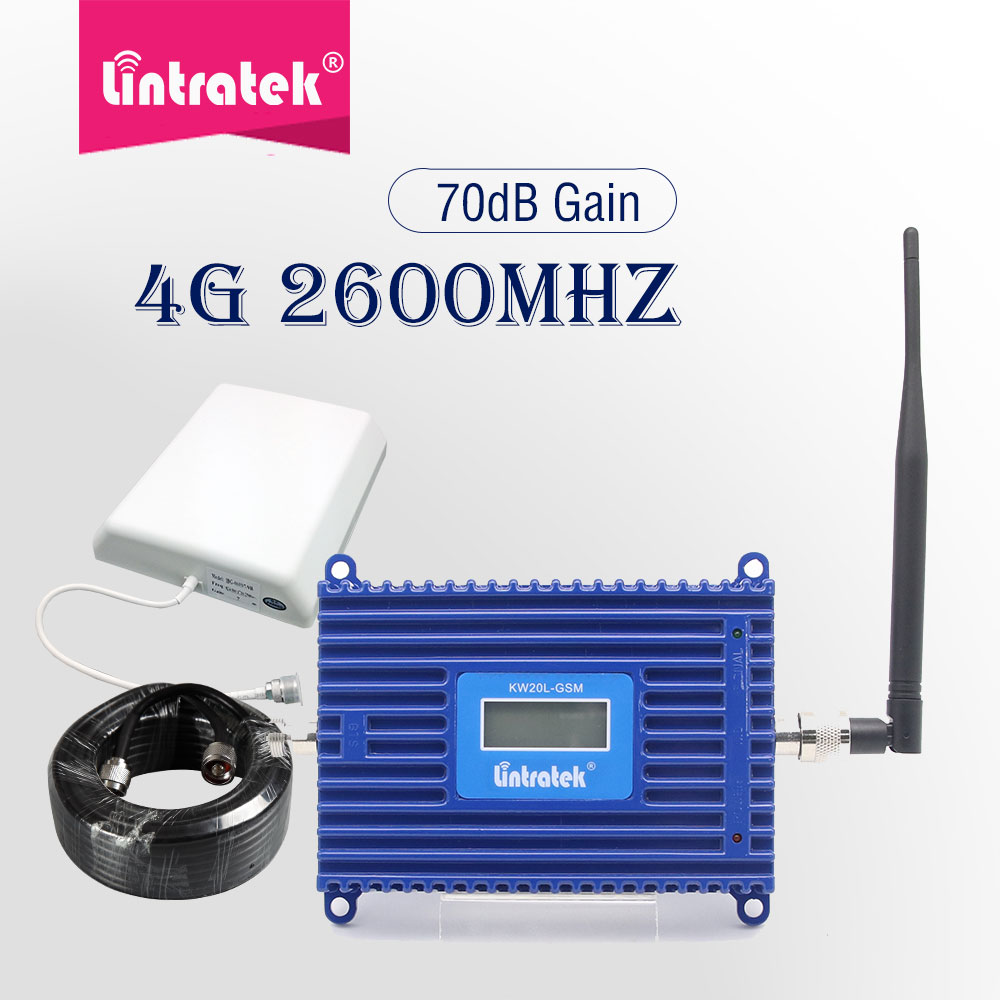 Lintrate 4G LTE 2600 B7 Umts Signal Booster 70dB 2600mhz Cell Phone Signal Repeater 4g Amplifier Internet Data Voice Call Set Dd