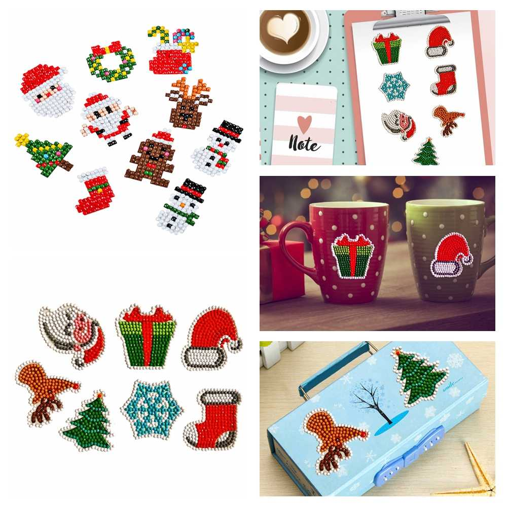 5D DIY Diamond Painting Christmas Diamond Painting Stickers Christmas Decoration For Home Kids DIY Craft Gift