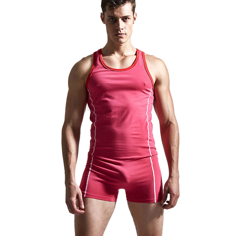 Brand One-piece Gym & Home Nylon Underwear Mens Sleeveless Quick Dry Sexy Slim Men Casual Sleepwear Body Shaper Male Pajamas Set