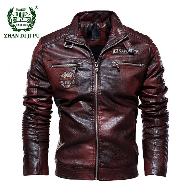 Tactical PU Leather Jacket Men Winter Military Fleece Faux Leather Jacket Male Motorcycle Windbreaker Jaqueta De Couro Masculino