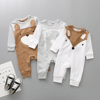 Winter Autumn Spring 2019 New Brand Toddler Newborn Baby Girls Boy Rompers Cartoon Jumpsuit Outfits Clothes