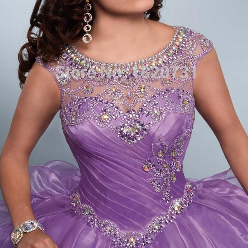 Image 4 - New Light Purple Ball Gown Quinceanera Dresses Scoop Pleats Beaded Rhinetones Sweet 16 Dress For 15 Years Debutante Gowndresses for 15ball gowns quinceanera dressessweet 16 dresses -