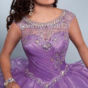 Image 4 - Vestido de baile morado claro para quinceañera, plisado, con cuentas de diamantes de imitación, 16 años