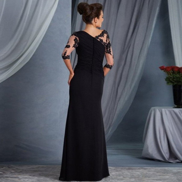 elegant lace sleeved formal gown 2