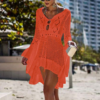 Loozykit 2019 Women Crochet Knitted Cover Up Dress Beach Tunic Long Pareos Bikini Cover Bathing Suits Beachwears Robe Plage 16
