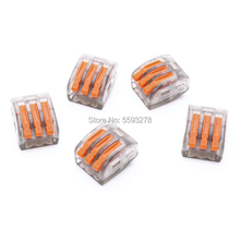 цена 100PCS/LOT Free Shipping 222-413 Wiring-Connectors Conductor-Terminal-Block With Lever 28-12 AWG Compact-Wire PCT-213 онлайн в 2017 году