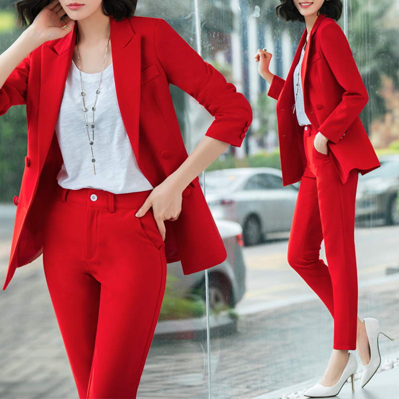 Temperament Office Women's Suit Pants Suit Autumn And Winter Slim Full Sleeve Red Jacket Slim Trousers Two-piece High Quality