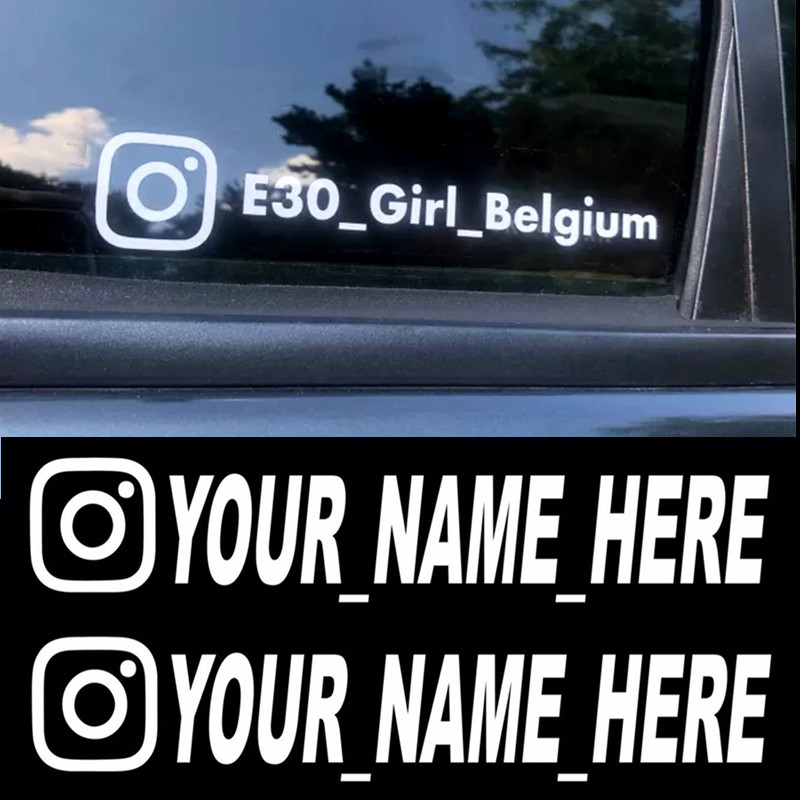Instagram User Name Custom Car Sticker Vinyl Decals Motorcycle Car Stickers FACEBOOK Pinterest YouTube Snapchat Pegatinas Coche
