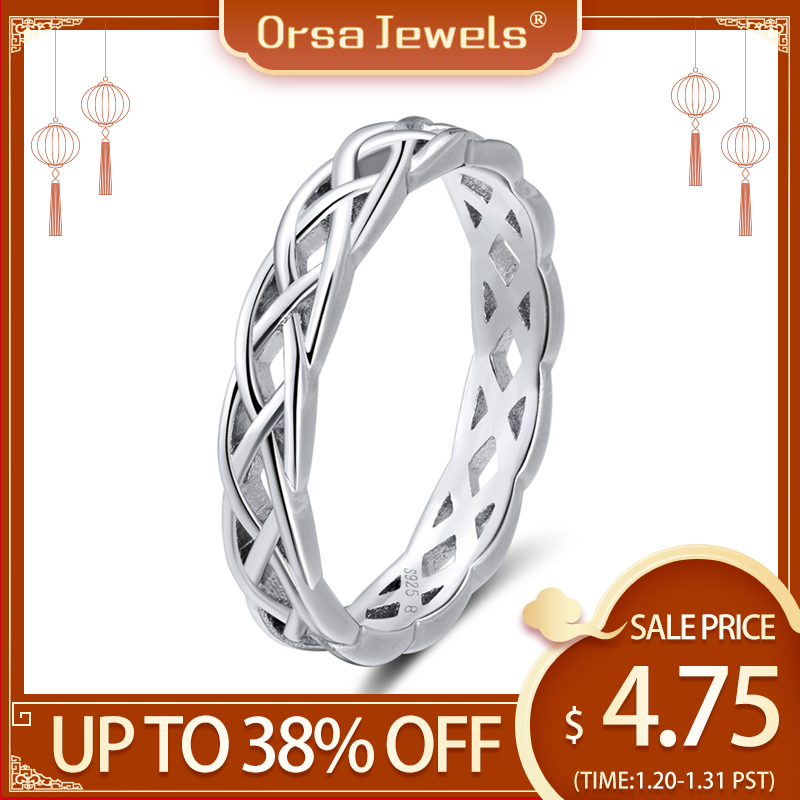 ORSA JEWELS  925 Sterling Silver Rings Women Unique Twisted Shape Round Ring Wedding Band Fashion Jewelry Anniversary Gift SR62