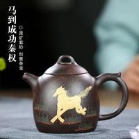 Dark-red esmaltado cerâmica bule manual famoso alcançar vitória imediata qin quan bule 330 mililitros ouro preto apenas chá conjunto