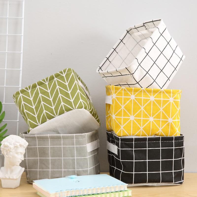 1PCS Desktop Storage Basket Sundries Underwear Toys Cosmetics Book Storage Box Cotton Linen Storage Container Laundry Basket