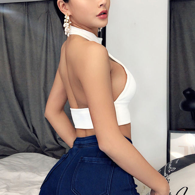 Women Strappy Cross Over Front Cut Out Halter Neck Sleeveless Backless Crop Tops Bandage Vest Summer Sexy Tops Woman Clothes 3