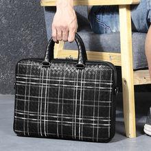 Кожаная деловая сумка с вышивкой для мужчин и женщин портфель