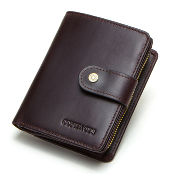 Contact's Genuine Leather Wallets Women Men Wallet Short Small Rfid Card Holder Wallets Ladies Red Coin Purse Portfel Damski 12