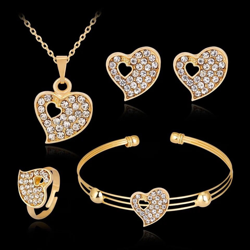 Fashion Jewelry Luxury Gold-color Romantic Austrian Crystal Heart shape Chain Necklace Earrings Bracelet Ring Jewelry Sets