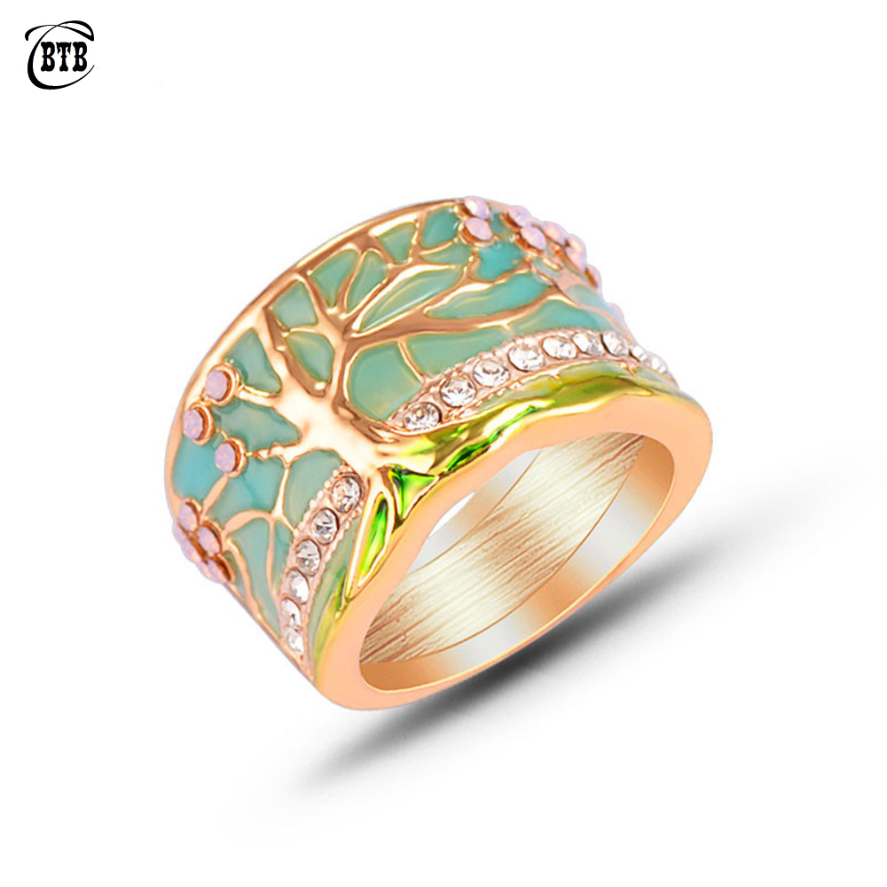 Hot Lucky Flower Tree Rings Fashion Gold Pink Opal Green Enamel Wide Ring for Woman Party Crystal Vintage Jewelry 2019 New(China)
