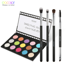 Docolor Fashion Eyeshadow Palette 15 Color Glitter Nude Scene Eye shadow and 4pcs Makeup Brushes Cosmetics Tools Kit