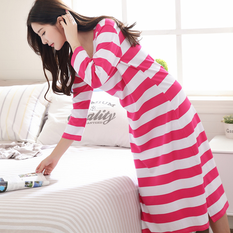 Brown Striped Young Lady Long Sleeve Homewear Spring Comfortable Cotton Sleepwear Nightgown Casual Soft Nightdress Nightwear