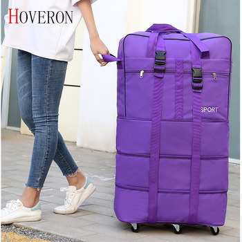 Portable travel bag rolling luggage Large capacity checked Extendable Roller Backpack Moving Oxford Cloth duffle - discount item  45% OFF Travel Bags