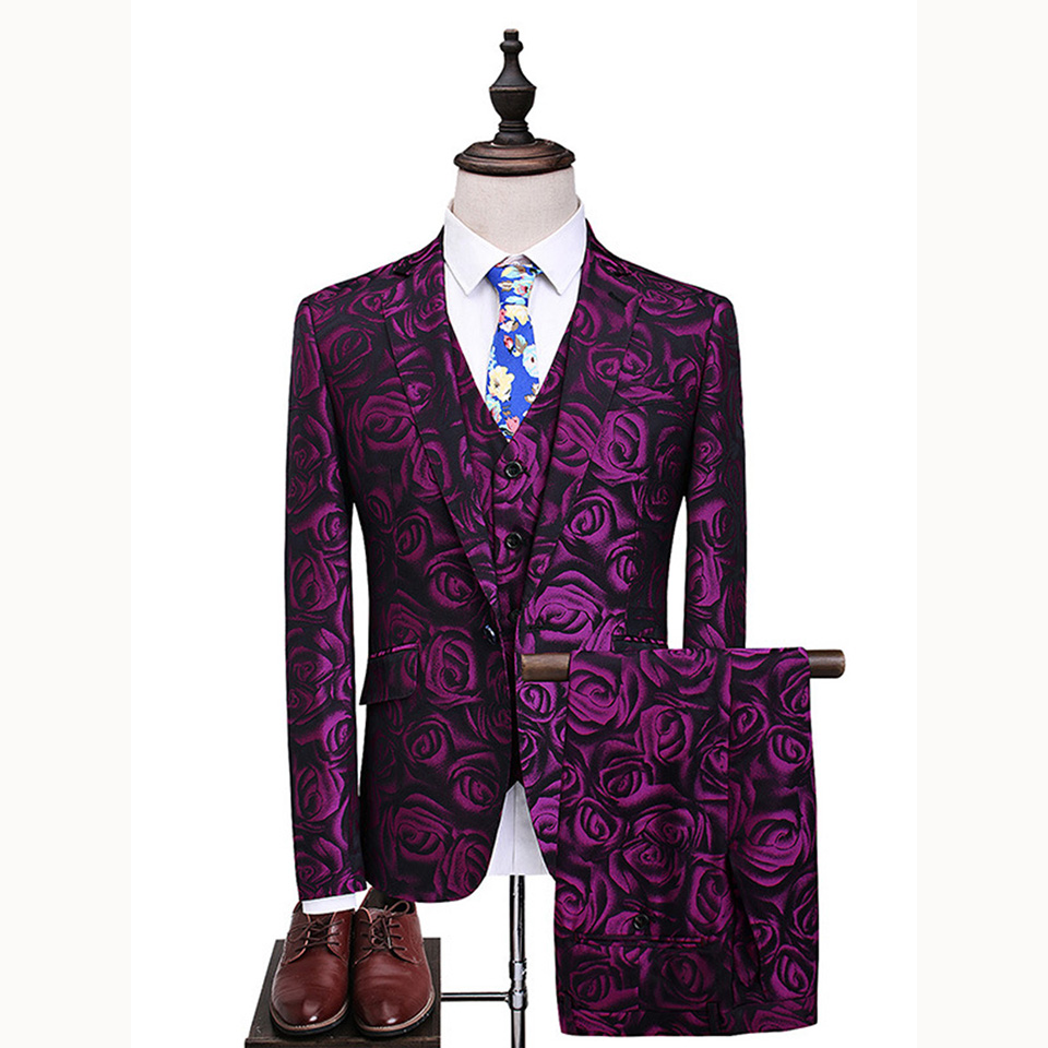 Dressv Rose Red Long Sleeves Fashion Men's Suit Flower Jacket+Vest+Pants 3 Pieces Groom Suits For Wedding One Button
