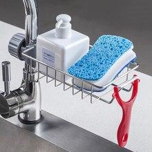 Küche Edelstahl Waschbecken Abfluss Rack Schwamm Lagerung Wasserhahn Halter Seife Abtropffläche Regal Korb Organizer Bad Zubehör