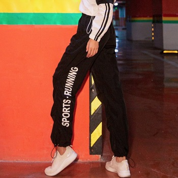 black sports pants letter print running pants